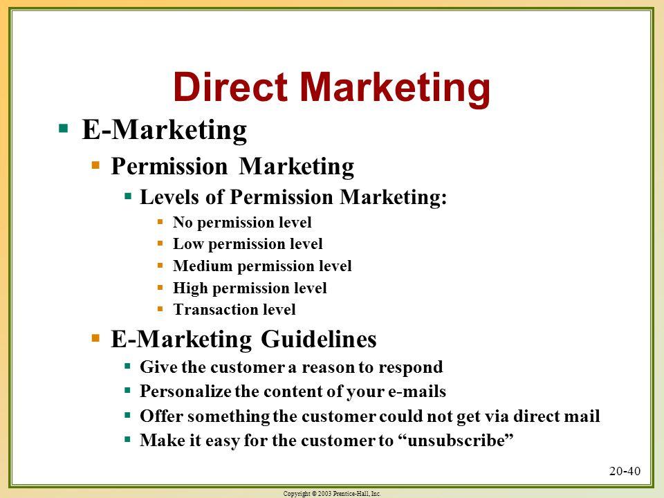 Direct Marketing E-Marketing Permission Marketing