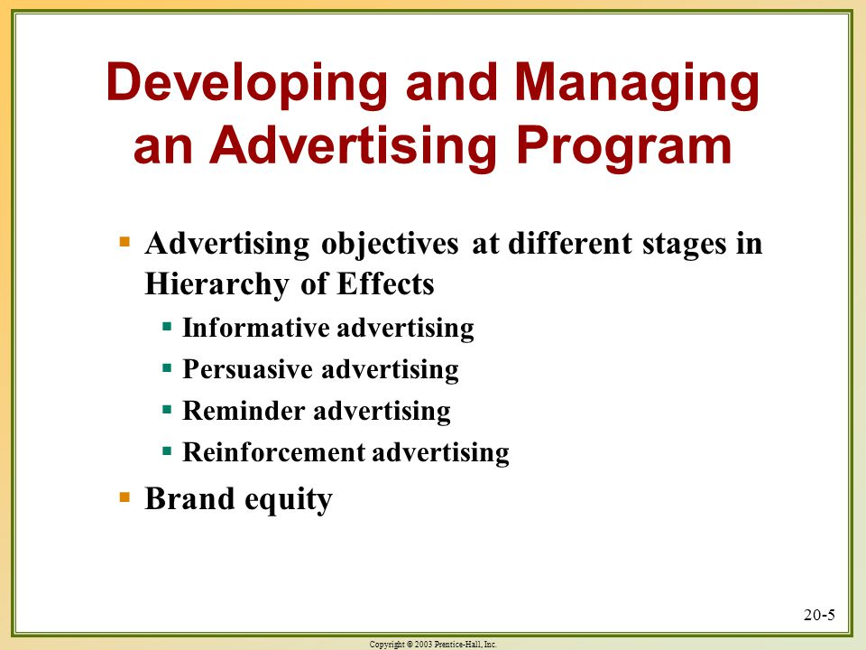 Developing and Managing an Advertising Program