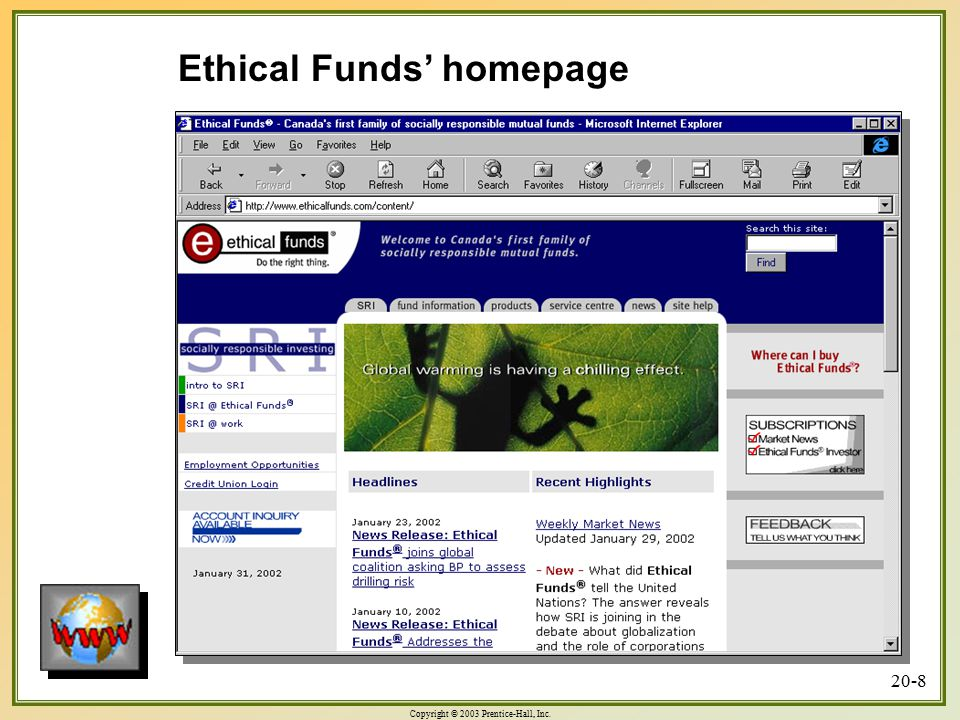 Ethical Funds' homepage
