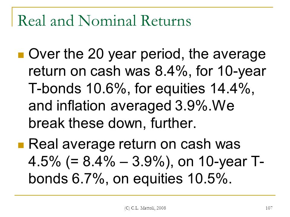 Real and Nominal Returns