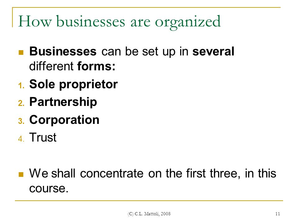 How businesses are organized