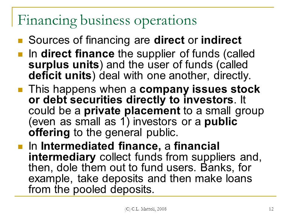 Financing business operations