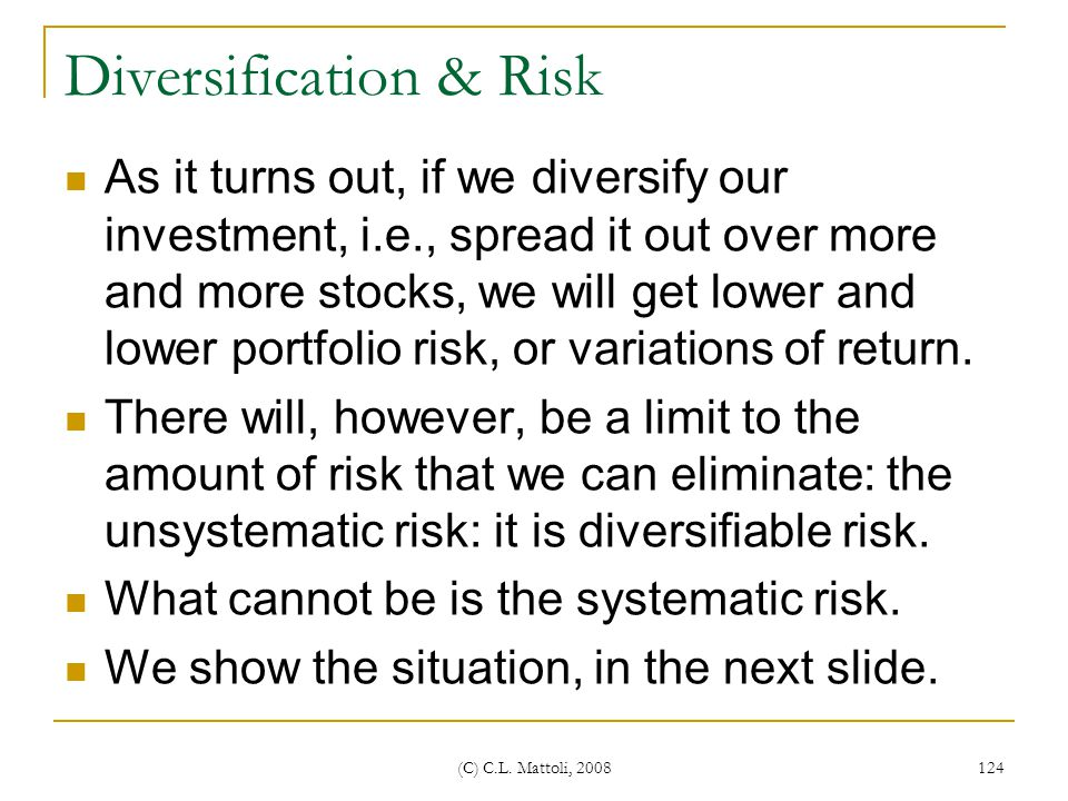 Diversification & Risk