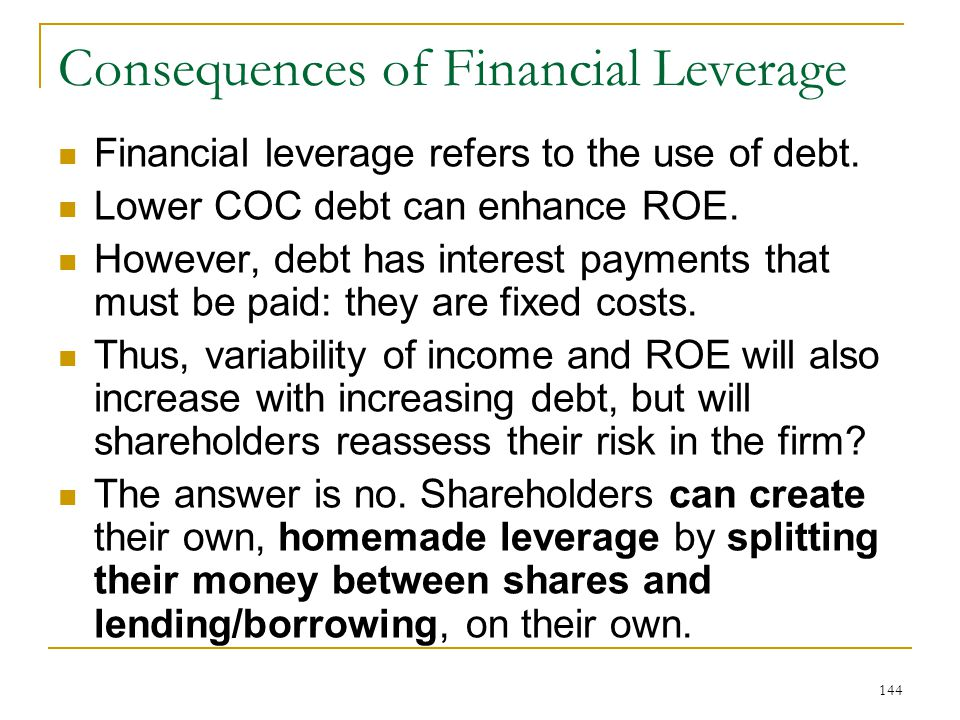 Consequences of Financial Leverage