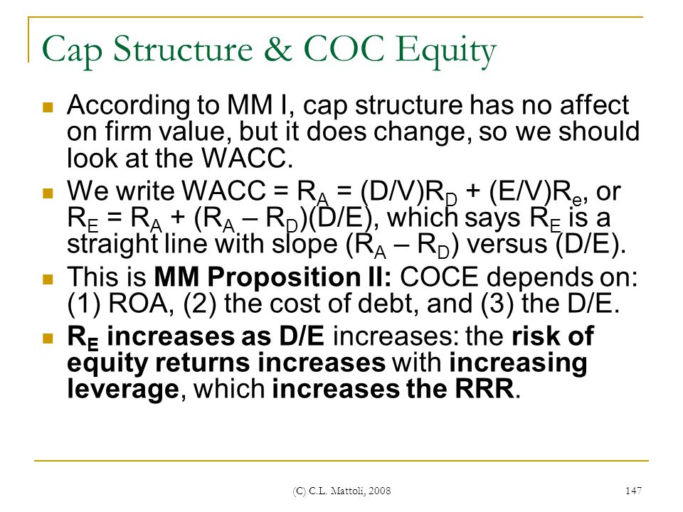 Cap Structure & COC Equity