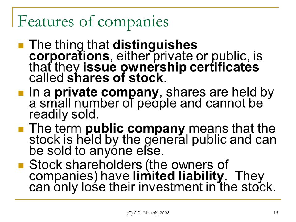 Features of companies