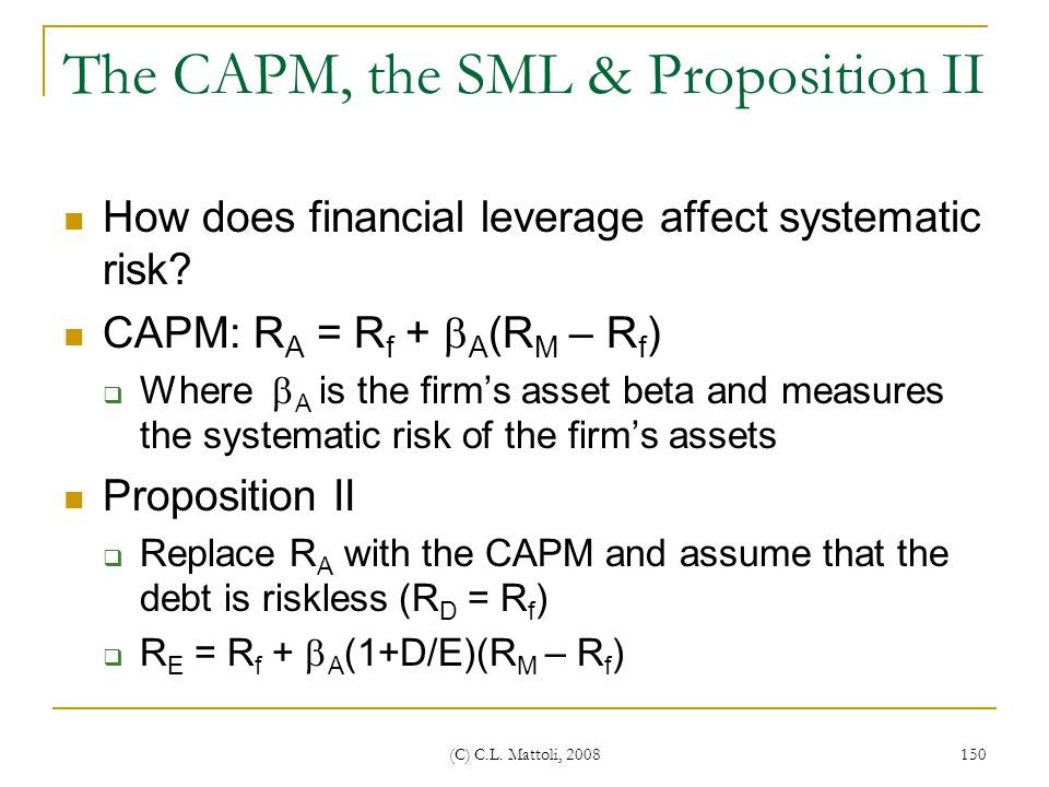 The CAPM, the SML & Proposition II