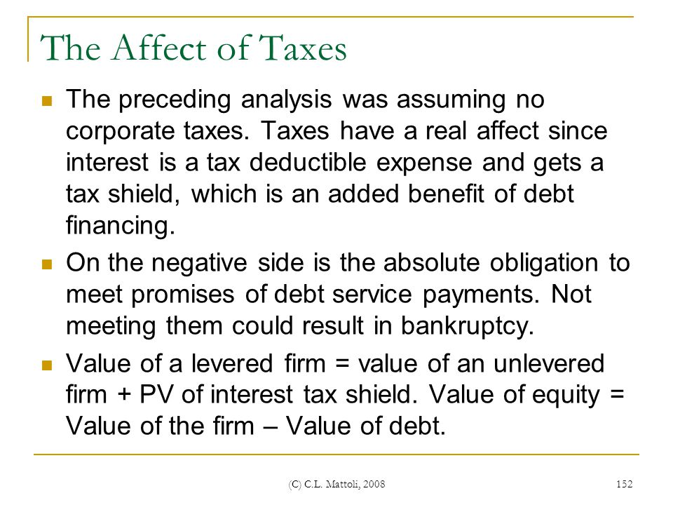 The Affect of Taxes