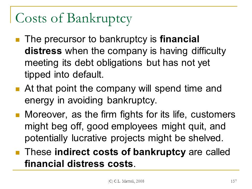 Costs of Bankruptcy