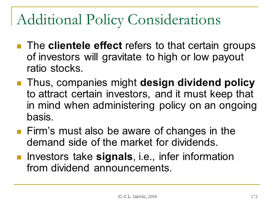 Additional Policy Considerations