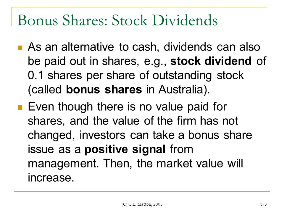 Bonus Shares: Stock Dividends