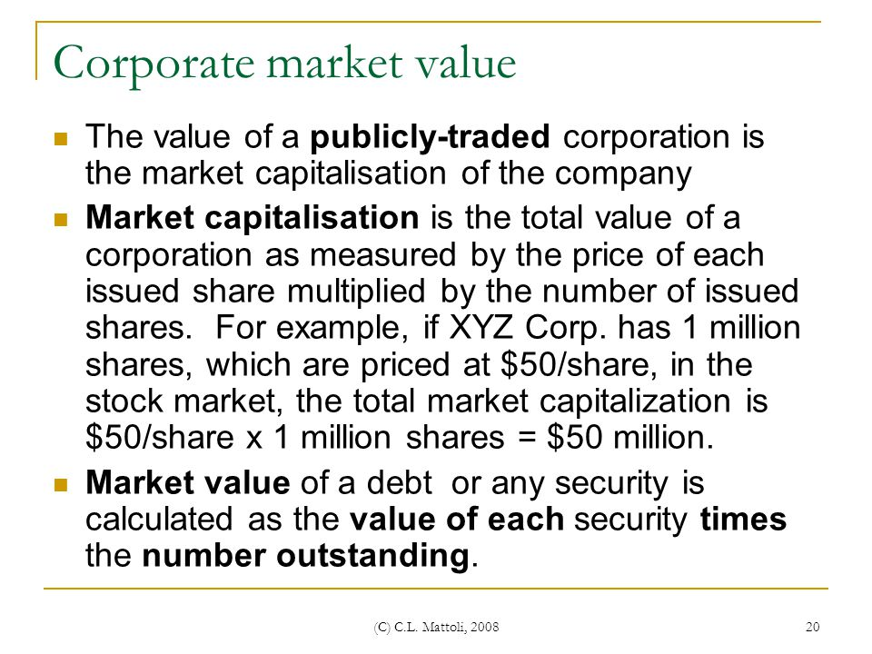 Corporate market value