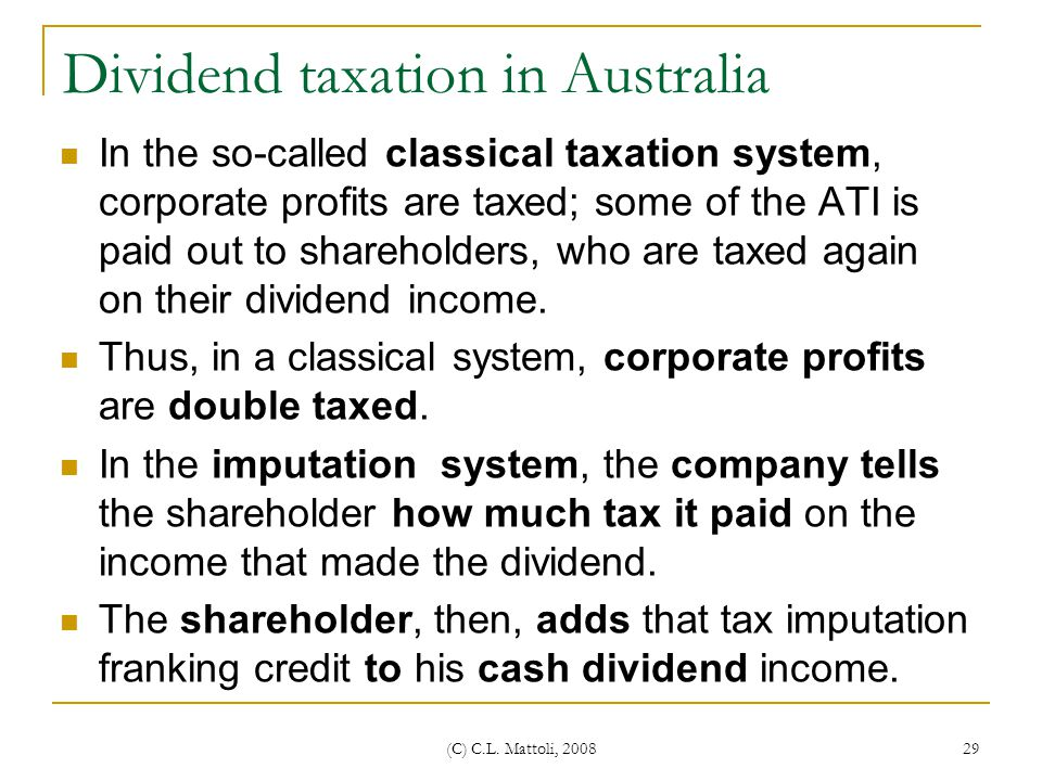 Dividend taxation in Australia
