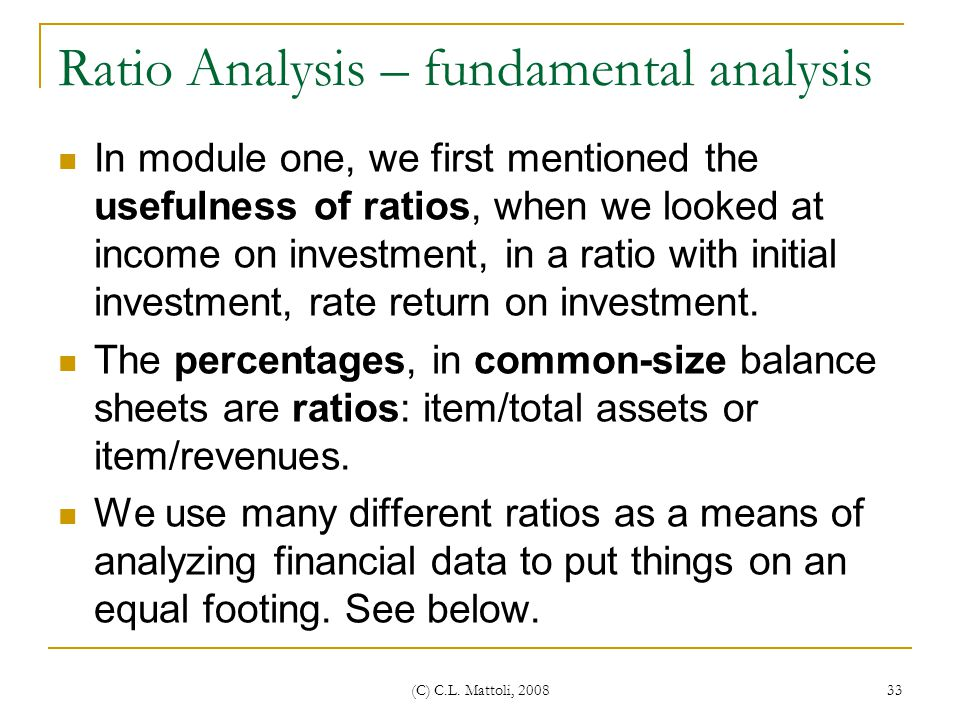 Ratio Analysis – fundamental analysis