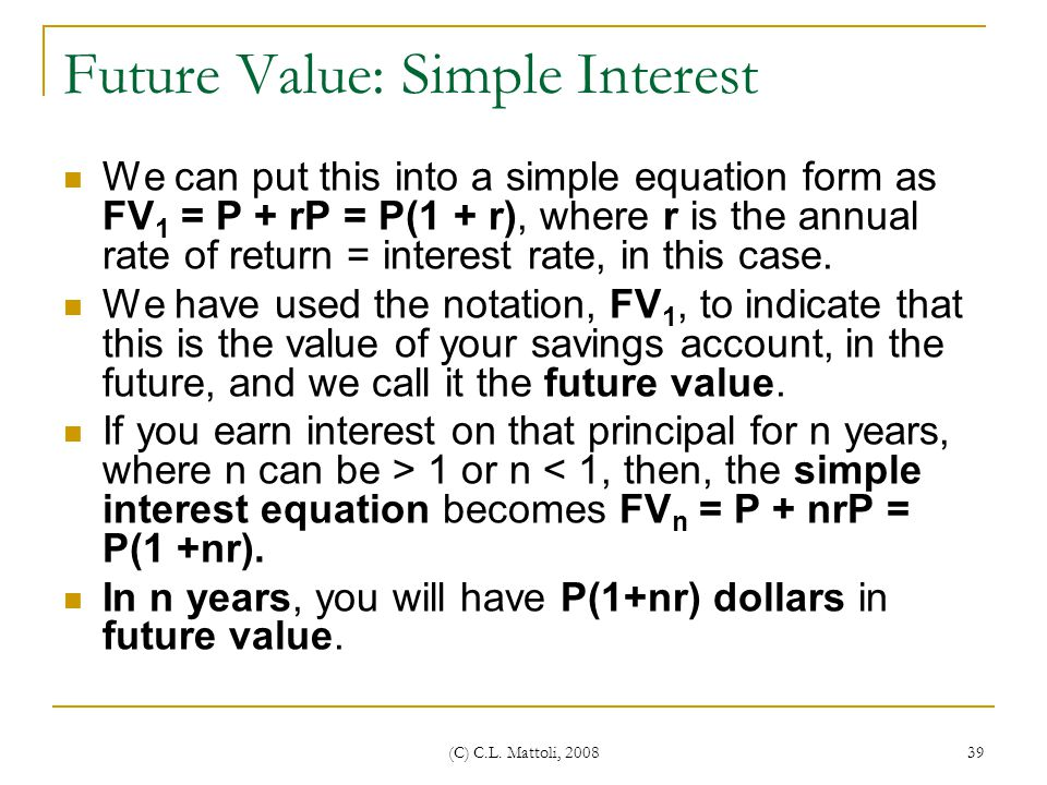 Future Value: Simple Interest