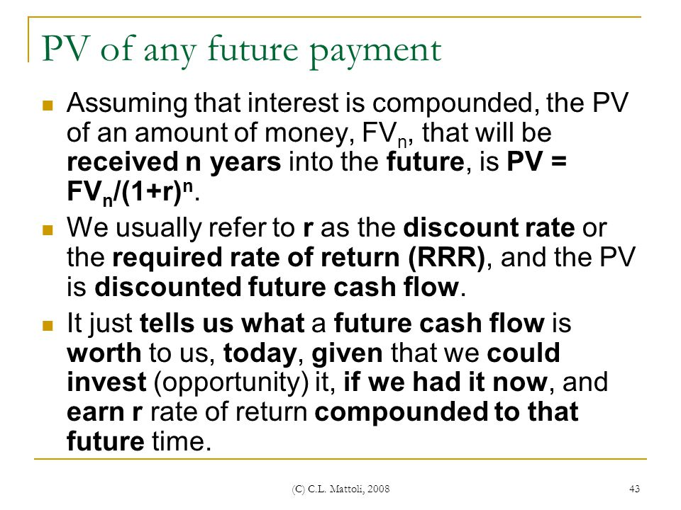 PV of any future payment