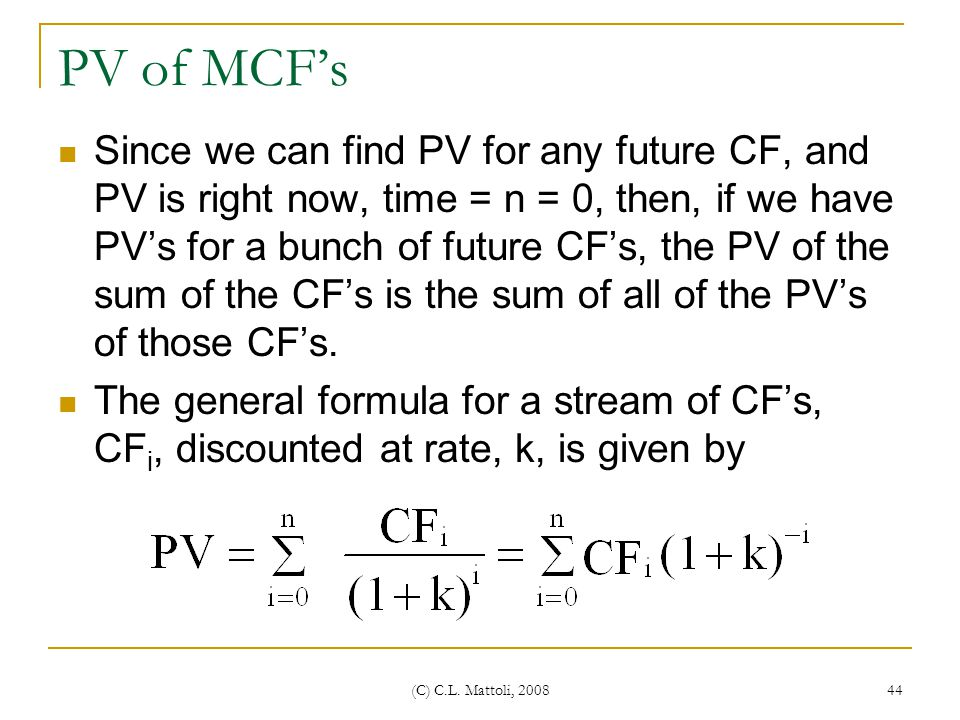 PV of MCF's