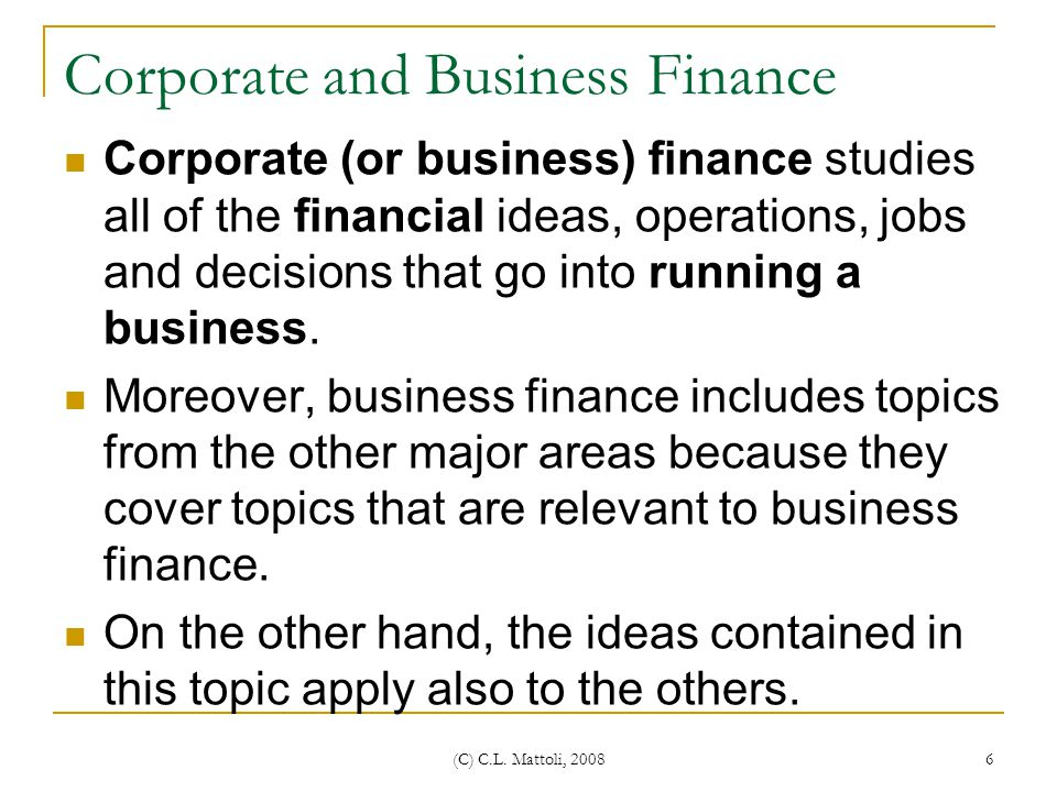 Corporate and Business Finance