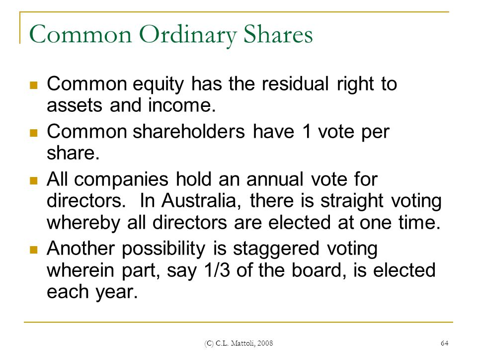 Common Ordinary Shares