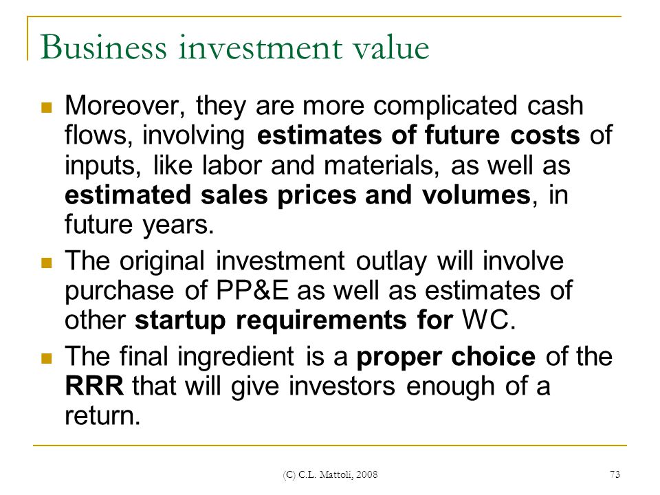 Business investment value