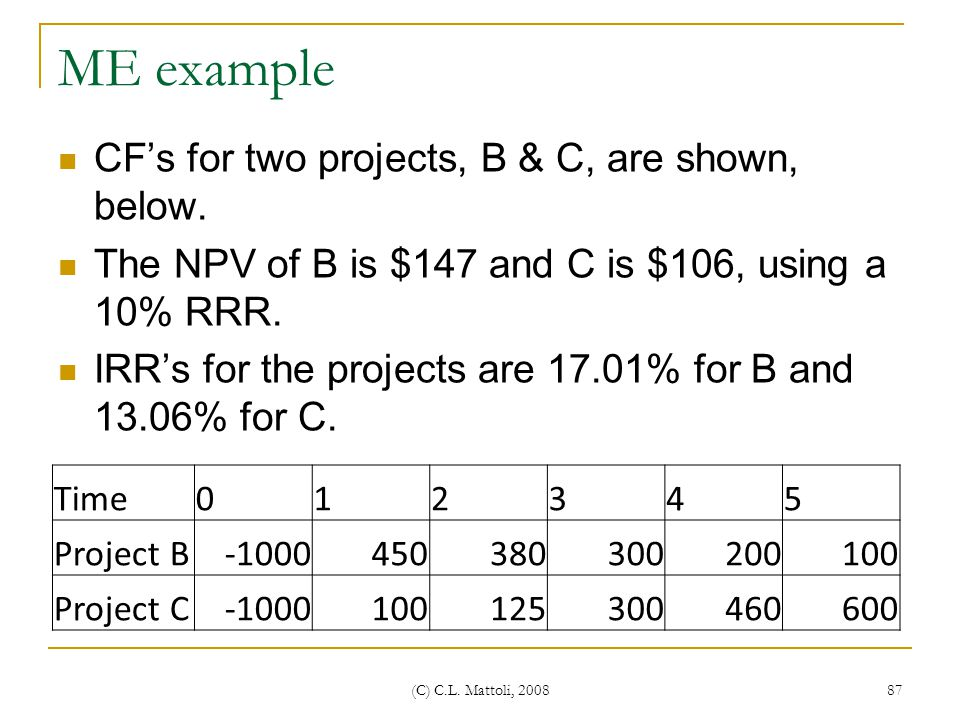 ME example CF's for two projects, B & C, are shown, below.