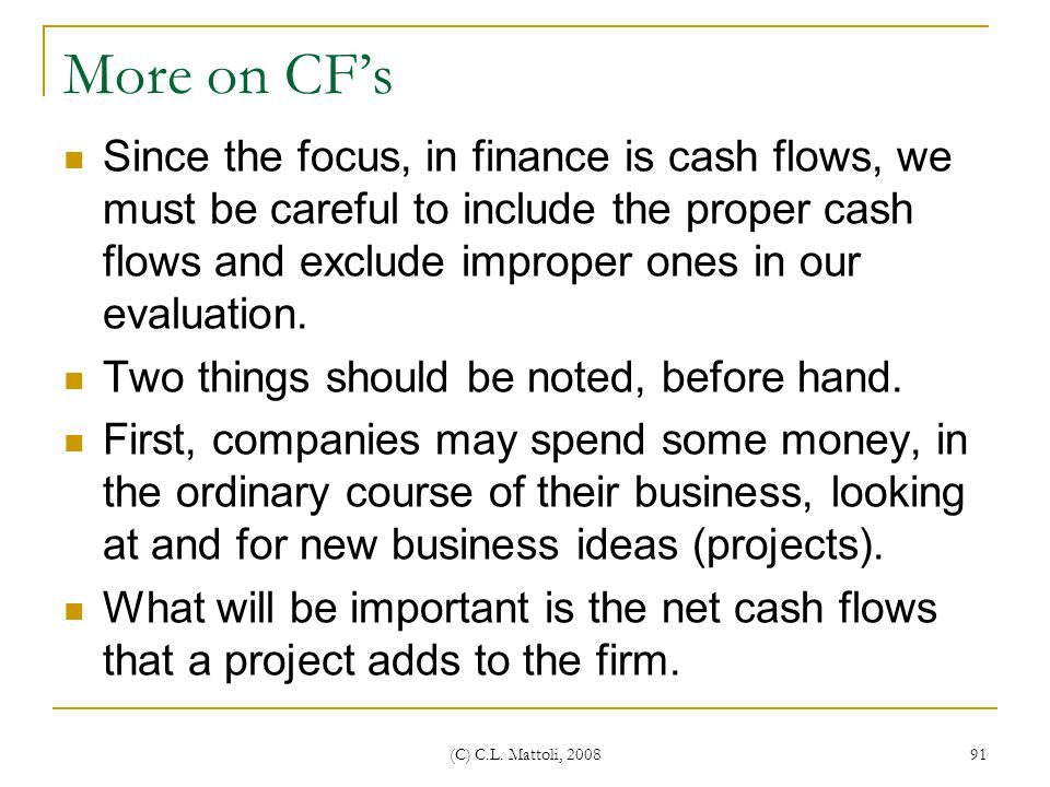 More on CF's