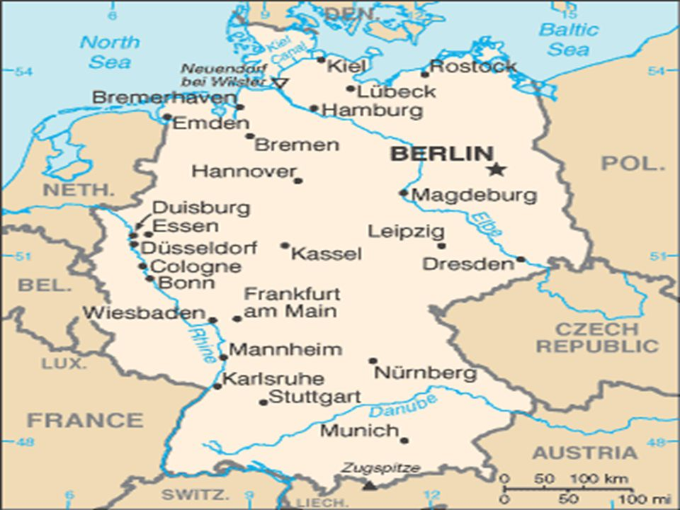 Germany's neighboring countries are Poland, Czech Republic, Austria, Switzerland, France, Belgium, Netherlands, Denmark and both the North and Baltic Seas