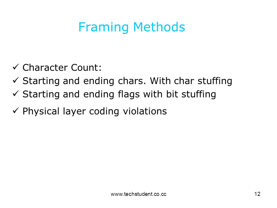 Framing Methods Character Count: