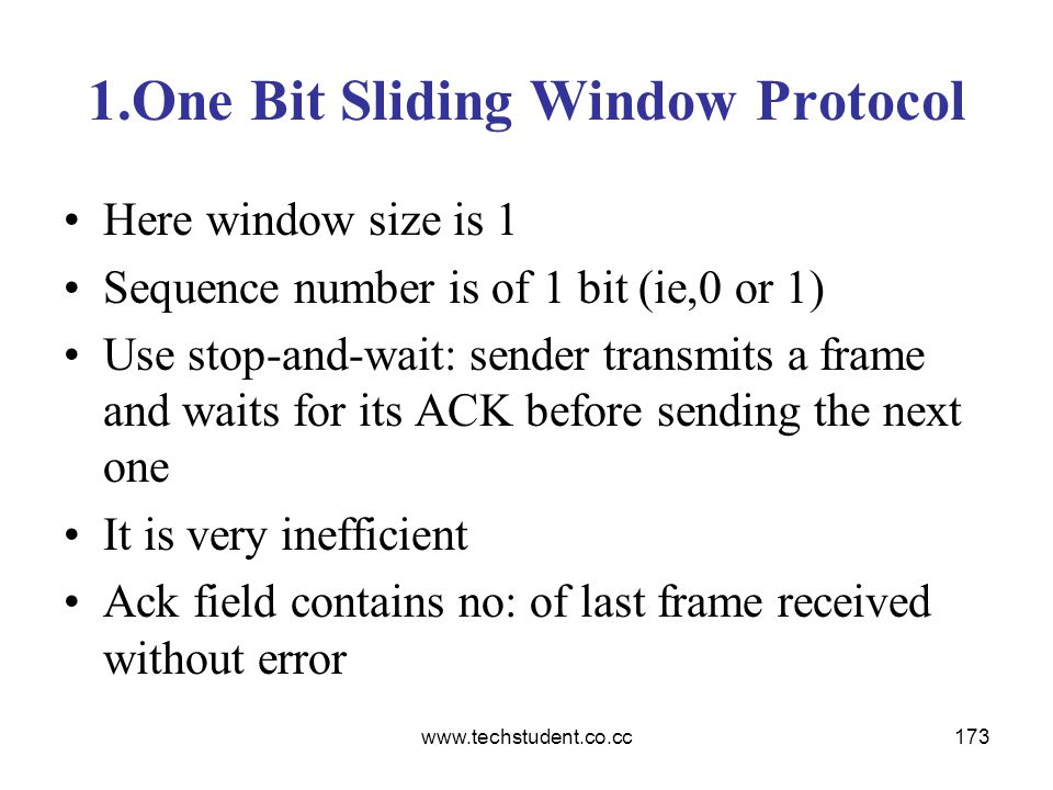 1.One Bit Sliding Window Protocol
