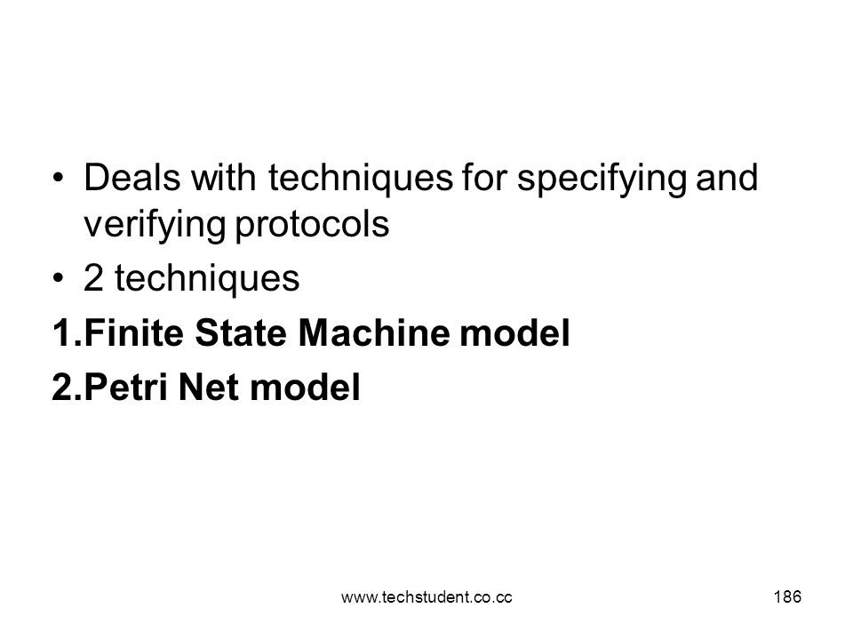 Deals with techniques for specifying and verifying protocols