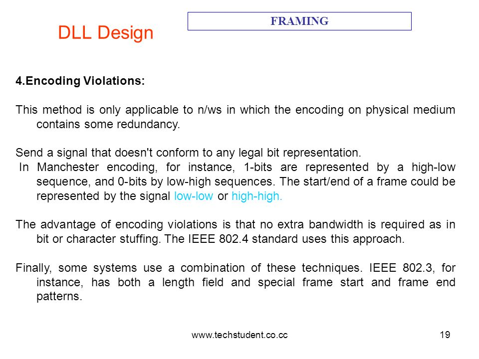 DLL Design FRAMING 4.Encoding Violations: