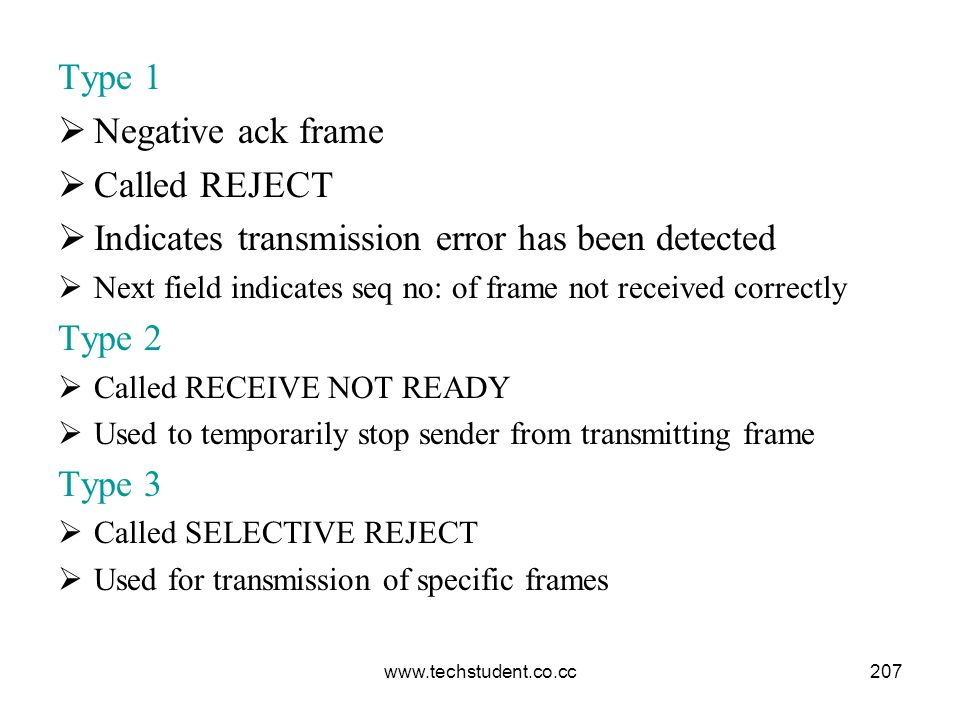 Indicates transmission error has been detected Type 2