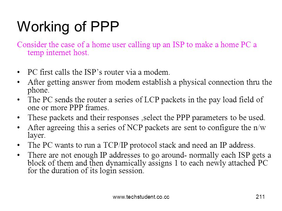Working of PPP Consider the case of a home user calling up an ISP to make a home PC a temp internet host.