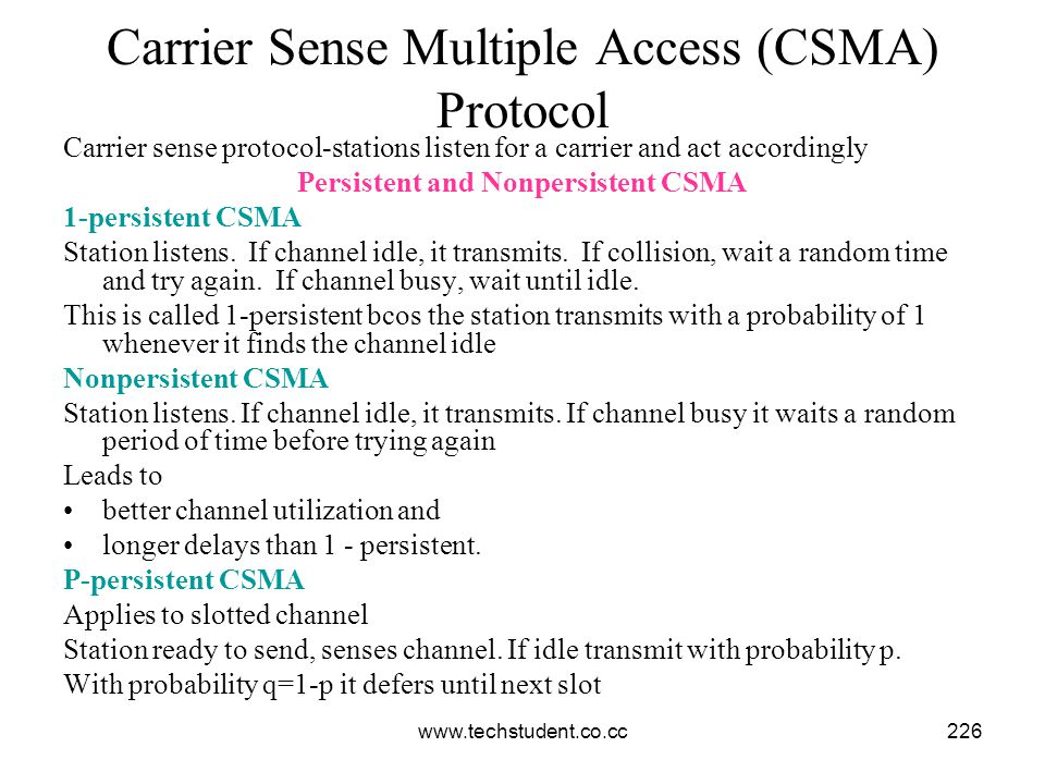 Carrier Sense Multiple Access (CSMA) Protocol