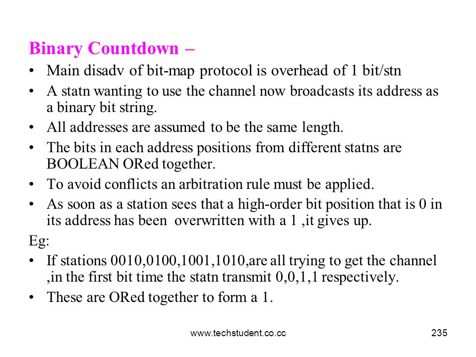 Binary Countdown – Main disadv of bit-map protocol is overhead of 1 bit/stn.