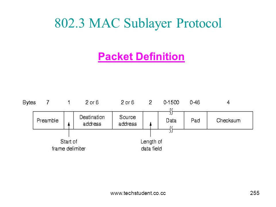 802.3 MAC Sublayer Protocol Packet Definition www.techstudent.co.cc