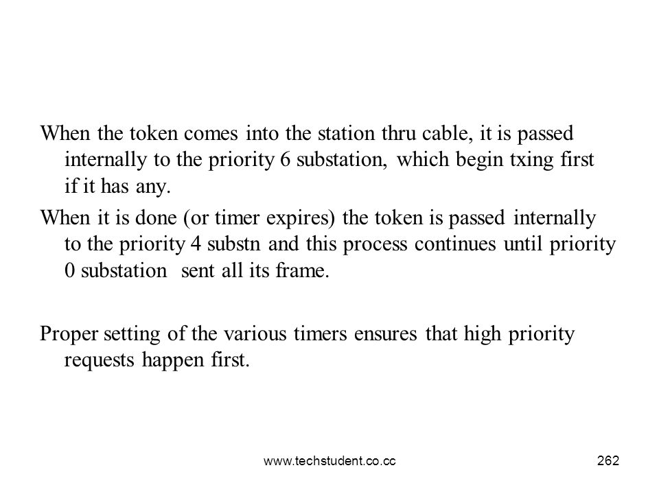 When the token comes into the station thru cable, it is passed internally to the priority 6 substation, which begin txing first if it has any.