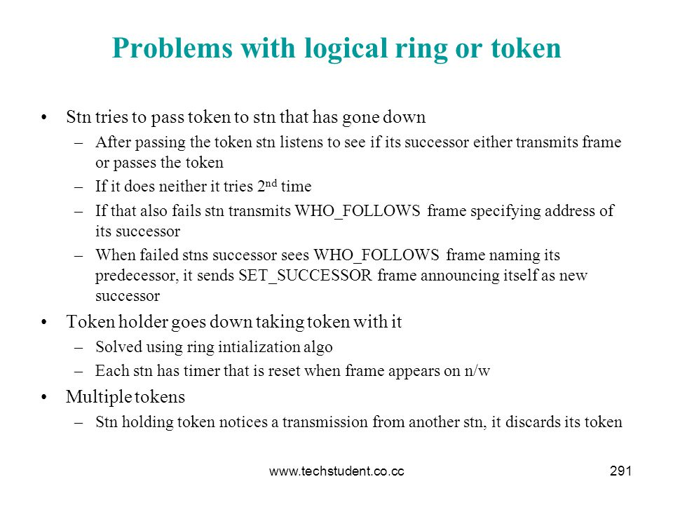 Problems with logical ring or token