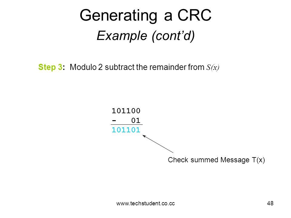 Generating a CRC Example (cont'd)