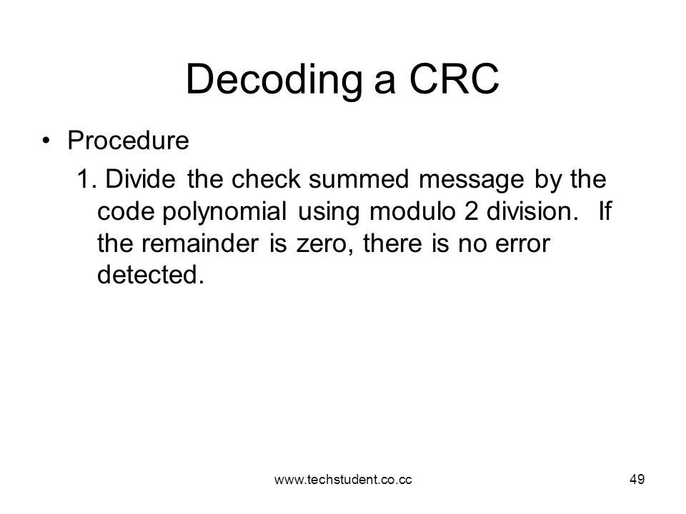 Decoding a CRC Procedure