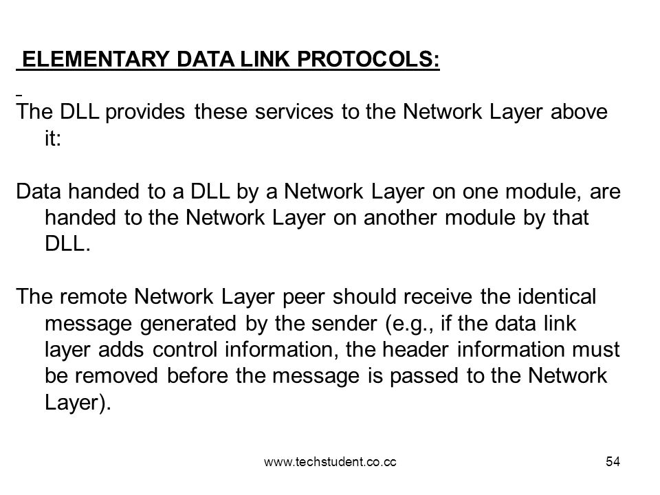 ELEMENTARY DATA LINK PROTOCOLS: