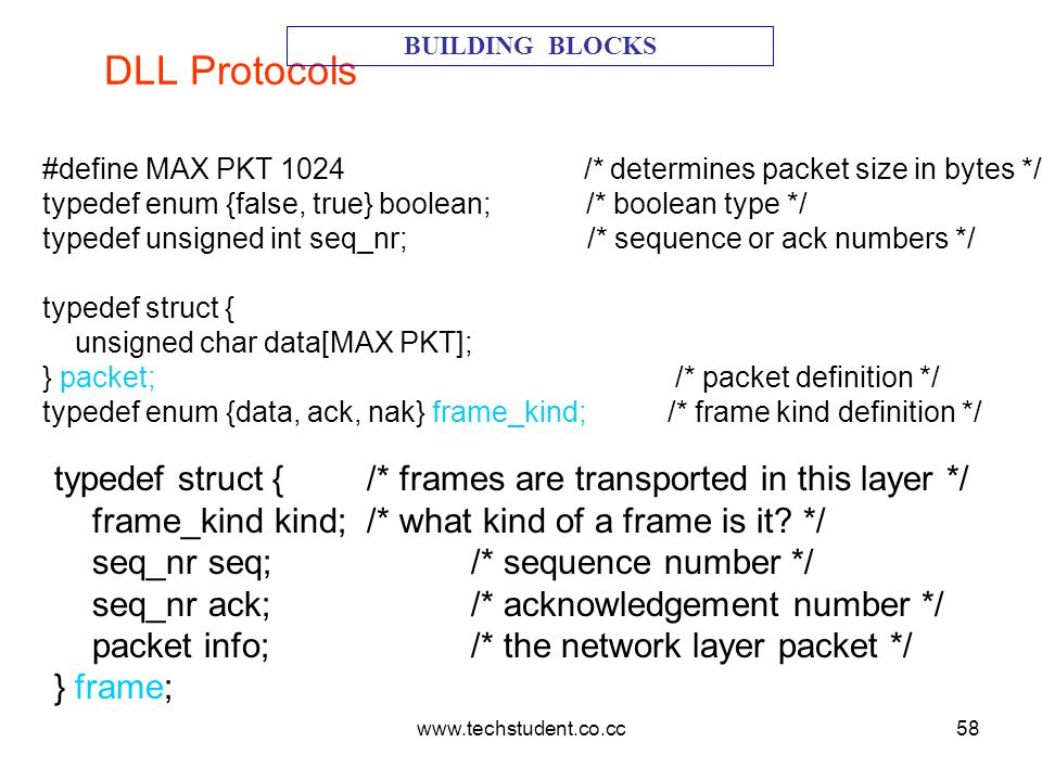 DLL Protocols BUILDING BLOCKS. #define MAX PKT 1024 /* determines packet size in bytes */