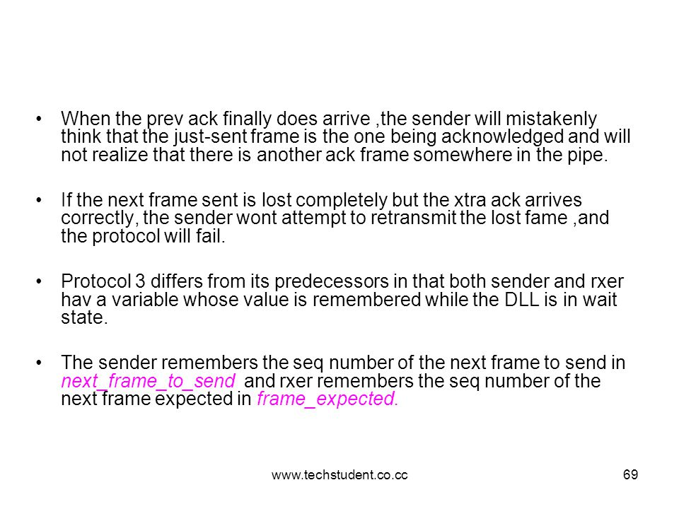 When the prev ack finally does arrive ,the sender will mistakenly think that the just-sent frame is the one being acknowledged and will not realize that there is another ack frame somewhere in the pipe.