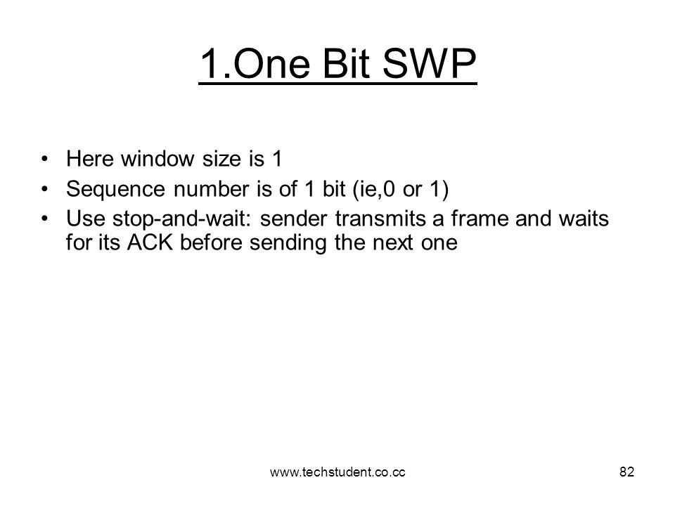 1.One Bit SWP Here window size is 1