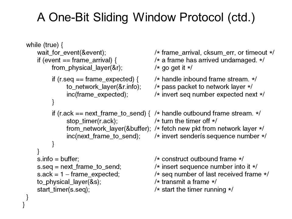 A One-Bit Sliding Window Protocol (ctd.)