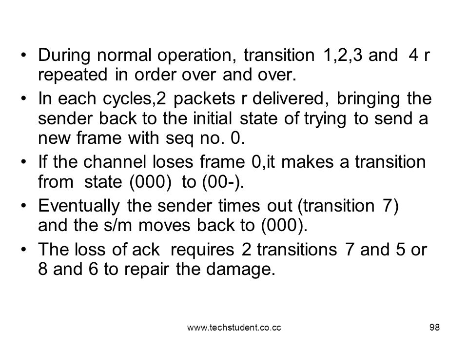 During normal operation, transition 1,2,3 and 4 r repeated in order over and over.