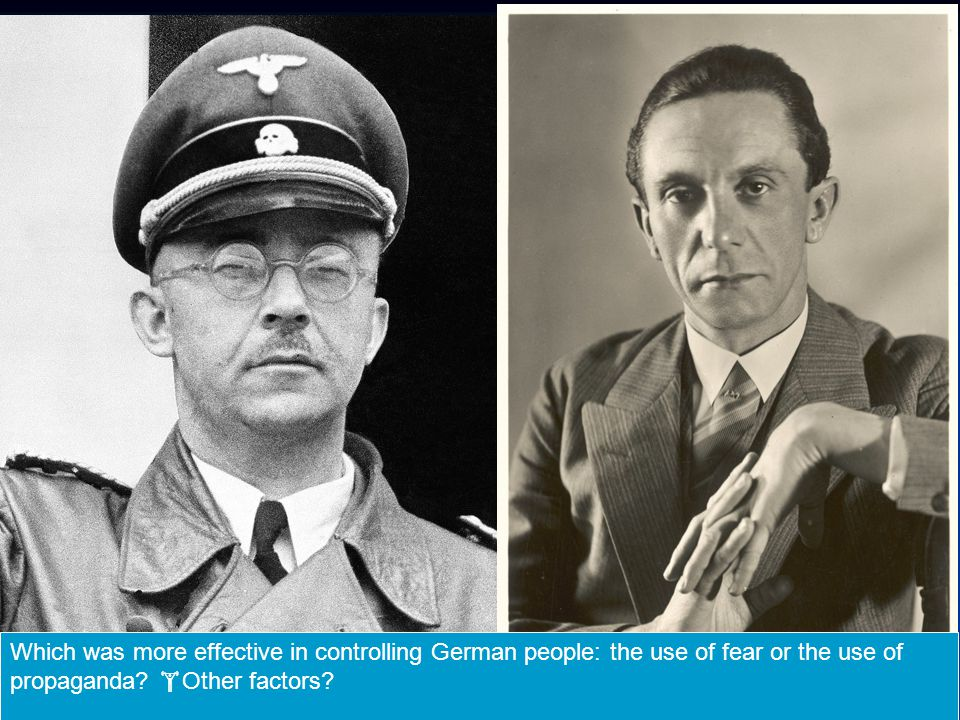Which was more effective in controlling German people: the use of fear or the use of propaganda.