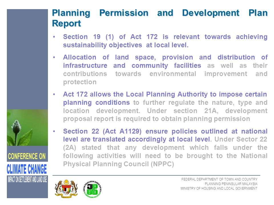 Planning Permission and Development Plan Report