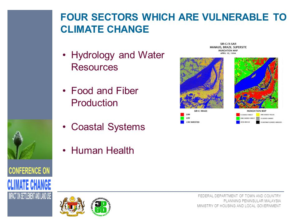 FOUR SECTORS WHICH ARE VULNERABLE TO CLIMATE CHANGE