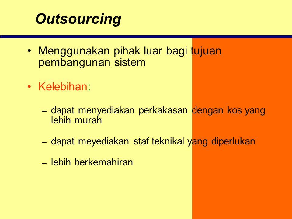 Outsourcing Menggunakan pihak luar bagi tujuan pembangunan sistem
